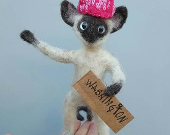 Pink kitty hat sculpture, washington march feminist art, needle felted siamese cat, pussy cat hat
