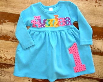 Personalized Birthday Dress, fun dress - 3 color choices, Long Sleeved or Sleeveless, 3-6m to 8yrs