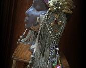 Tribal Fusion Headdress with Silk Tassels Tribal Fusion Headpiece Art Nouveau Head Piece Tribal Belly Dance Tassel Headdress Purple Silver