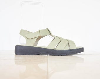 90s Pale Green Canvas Sandals / Women's Size 10 US - 40/41 Eur - 8 UK