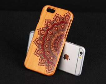 Cherry Wood iPhone 6 case Mandala iPhone 6 wood cover - NW6002