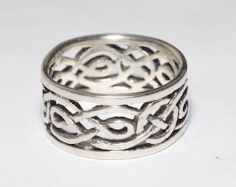 SALE Vintage Sterling Silver Rolling Weave Scroll Style Band Size 8.5