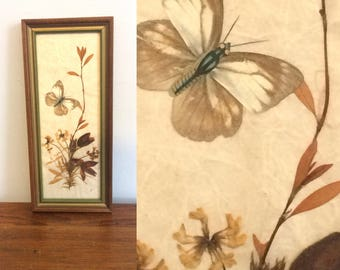 Vintage 70s Dried Flower Collage / Butterfly Pressed Flower Art / Nature Collage Assemblage