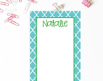 Quatrefoil Notepad . Personalized Notepad . School Notepad . Office Notepad . Preppy  Notepad . Mom Notepad . Teacher Notepad . Flowers Note