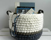 Medium-Lg Crochet Bowl / Basket / Storage / Neutral Decor