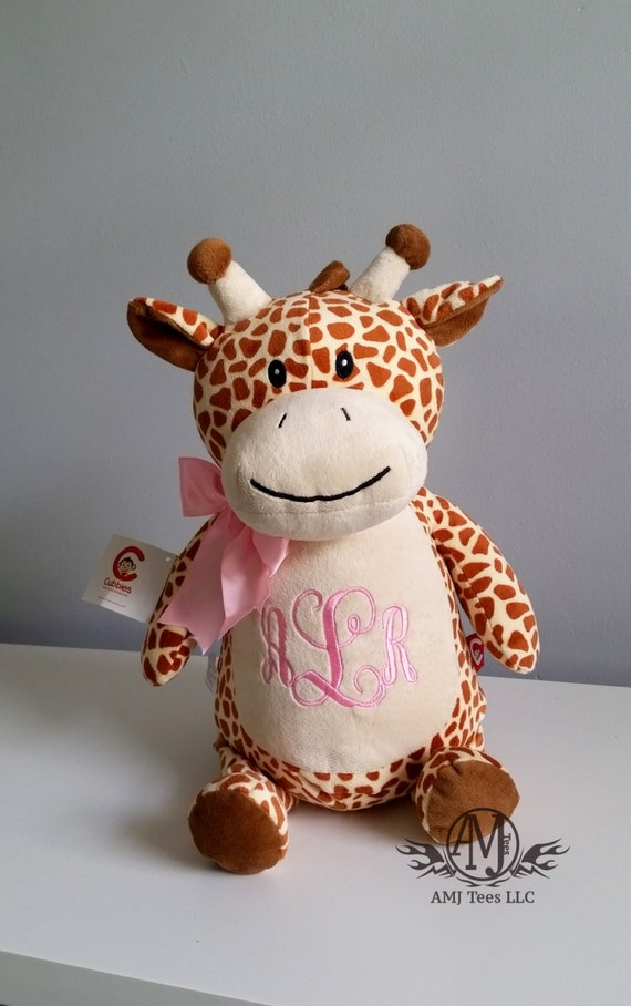 Personalized stuffed animal giraffe toy monogrammed baby like this item negle Images