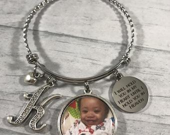 Memorial Gift. Memorial Jewelry. Custom Photo Jewelry. Hold you in Heart Until I Hold you in Heaven. Memorial Bracelet. Remembrance Jewelry.