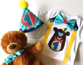 Teddy Bears Picnic First Birthday Boy Party Hat and Bodysuit Party Outfit