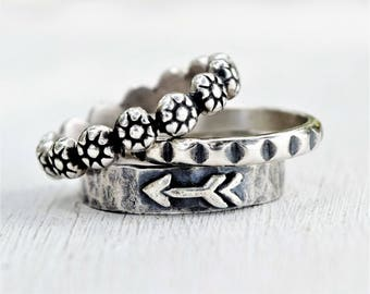 Rustic Arrow Ring Stack - Set of Three Sterling Silver Bands - GIft for Her - Bohemian Jewelry - Boho Silver Rings - Stacking Rings