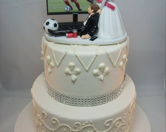 SALE No More Football Soccer Futbol Bride And Groom With TV Game Match Wedding Cake Topper