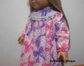 18 Inch Doll Clothes Nightgown Sparkle Pink and Purple Bows Fits Dolls Such As American Girl Dolls and Similiar Soft Bodied Dolls