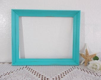 Seafoam Mint Green Picture Frame Upcycled Vintage Wood 11x14 Sea Foam Photo Decoration Beach Cottage Coastal