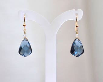 14K Gold. London Blue Topaz Earrings. 14K Yellow Gold , Blue stone Jewelry, December Birthstone, 14KYG