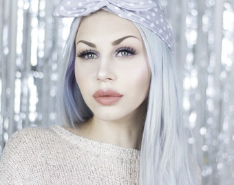 Light Grey With White Polka Dot Wire Headband - Dolly Bow