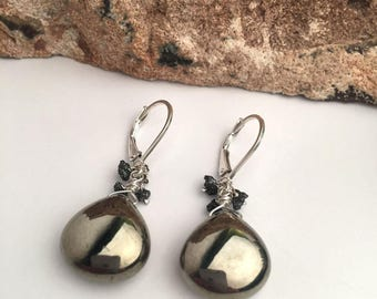 Pyrite - Raw Black Diamomds - Sterling Silver Earrings