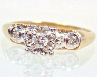 Sale!Vintage 14K Diamond Engagement Ring, Yellow Gold, White Gold, Wedding, Clearance