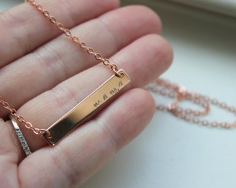 Rose Gold Bar Necklace, Rose Gold Jewelry, Mama Necklace, Mom Gift, Mama Jewelry, Mommy Necklace Grandma Gift Gift for Mom, Mothers Day Gift