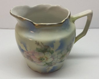 Vintage Cream Pitcher from BT Company 22 Apple Blossoms Blue Gold Trim