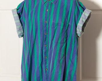 Vintage 80s 90s Short Sleeve Button Down Shirt - vertical stripe - KEY ELEMENTS - XL