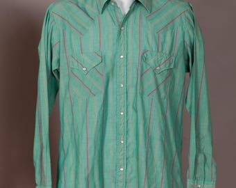 Vintage Country Western Men's Button Down Cowboy Shirt - ELY CATTLEMAN