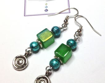"Handmade 2.25"" EARRINGS GREEN Iridescent Cube AQUA Accent Beads Silver Dangle and Wires"