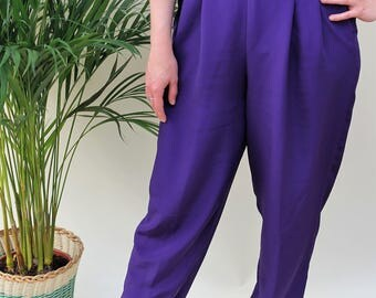1980s Purple Silky High Waisted Tapered Trousers Size UK 12, US 8, EU 40