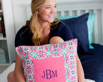 Monogrammed Pillow Cover - Mia Collection - Monogrammed Pillow Cover - Your choice of font and thread color