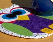 Horned Owl Mug Rug - Dark Purple