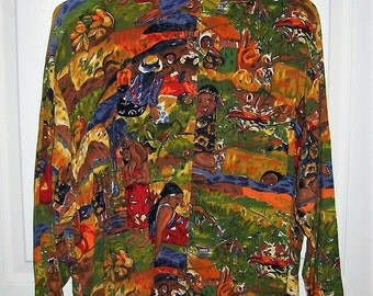 Vintage Ladies Pacific Island Ethnic Print Blouse by Krazy Kat Medium Only 9 USD
