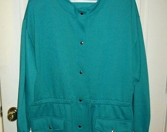 Vintage Ladies Green Fleece Snap Front Jacket by Blair 2 XL Only 10 USD