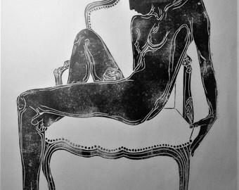 """inspiration erotique vintage linogravure imprimé à l'encre à l'huile  sur papier de riz """" sylvie """""""