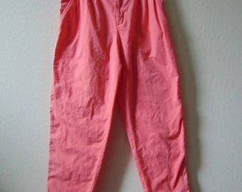 """90s pink pants, Dockers, XL pants, 32"""" waist, tapered legs, 1990s fashion, peach pants, size 12, 90s beach party, cotton pants, pleated pant"""