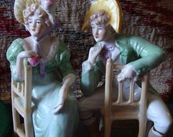 Gebruder Heubach Signed Man & Woman Seated Figurines, Garden Party Figures, Stunning Soft Finish Bisque Edwardian Figures