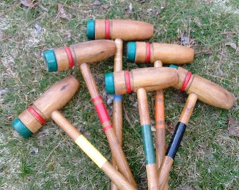 Vintage Croquet Mallets - Wooden Croquet Mallets - Set of 5