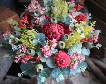 Rustic wedding bouquet. Bouquet for Bride, bridesmaids native Australian flowers Banksia, waratah, Geraldton waxflower, gumnuts, eucalyptus.