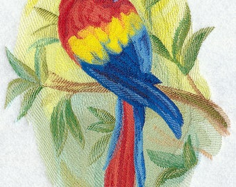 Scarlet Macaw in Watercolor Embroidered on Kona Cotton Quilt Block // Plain Weave Cotton Dish Towel // Also Available on Other Items