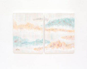 Lee Reynolds Abstract Painting, Two Panel Pastel Aqua Peach Pink Decor