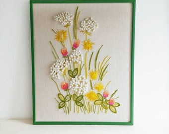 Vintage Framed Embroidery Crewel White Wildflower Bouquet