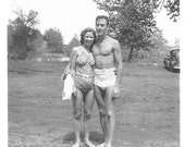 "Vintage Snapshot ""Summer Breeze"" Swimsuit Swim Trunks Pretty Girl Handsome Man Shirtless Found Vernacular Photo"