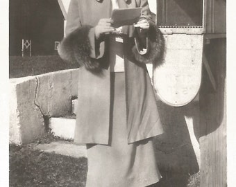 """Vintage Snapshot """"The Invitation"""" Woman Wearing Fur-Trimmed Jacket Gets The Mail - R.F.D. U.S. Mail Mailbox Barn - Found Original Photo"""