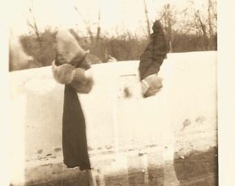 "Vintage Snapshot ""An Arm And A Leg""Double Exposure Photo Fur-Trimmed Coat Man's Shoes Pants Woman's Shoes Found Vernacular Photo"