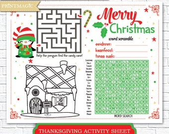 Christmas Printable Activity - Kids Christmas Game - Christmas Activity - Children's Activity for Christmas - Instant Download