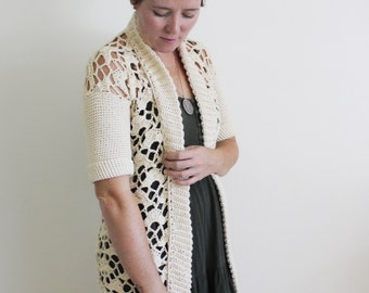 Crochet Pattern: The Amy Eliza Cardigan Adult XS/S, M/L, XL shawl collar lace open work sweater