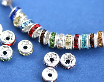 5mm Silver Rhinestone Rondelle Spacer Beads MIX, Nickel Free, Grade AAA, Straight Flange - 20pc - 0287