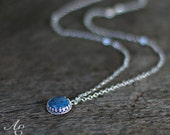 Sterling Silver and Denim Lapis Necklace - Small Blue Stone Necklace - Denim Blue Necklace