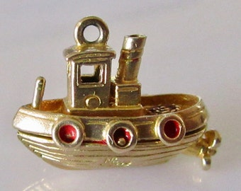 Vintage 9ct Gold Nuvo Tug Boat Charm