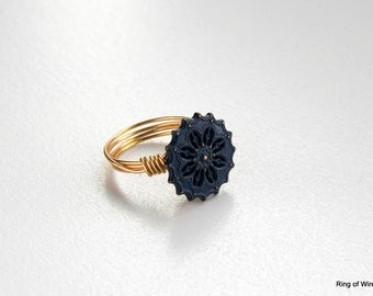 Navy Blue Button Ring, Wire Wrapped Ring, Gold Wire Ring, Blue Flower Ring, Brass Button Ring, Blue Ring, Metal Button Ring, Starburst Ring