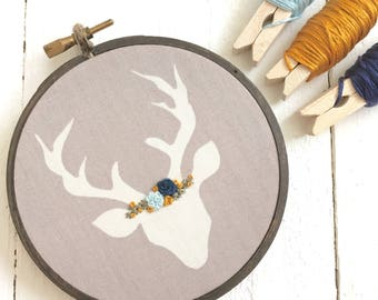 Hand Embroidered Floral Deer, Woodland Embroidery Hoop, New Baby Gift, Child Room, Gifts Under 20, Baby Shower, Nursery Decor, Rustic
