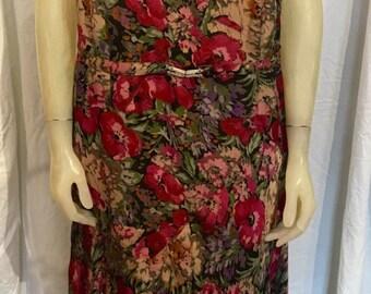 Vintage RARE 1920s Silk Crepe Fuchsia Floral Dress I. Magnin London