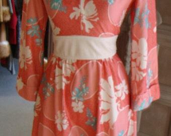 coral pink OBI WAIST DRESS 1970's 70's jerell S xs